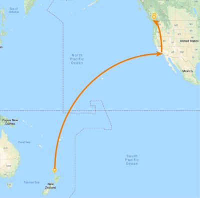 Auckland to Los Angeles to Victoria, Canada flight map