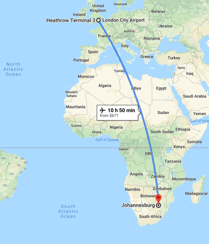 Heathrow to Johannesburg flight map