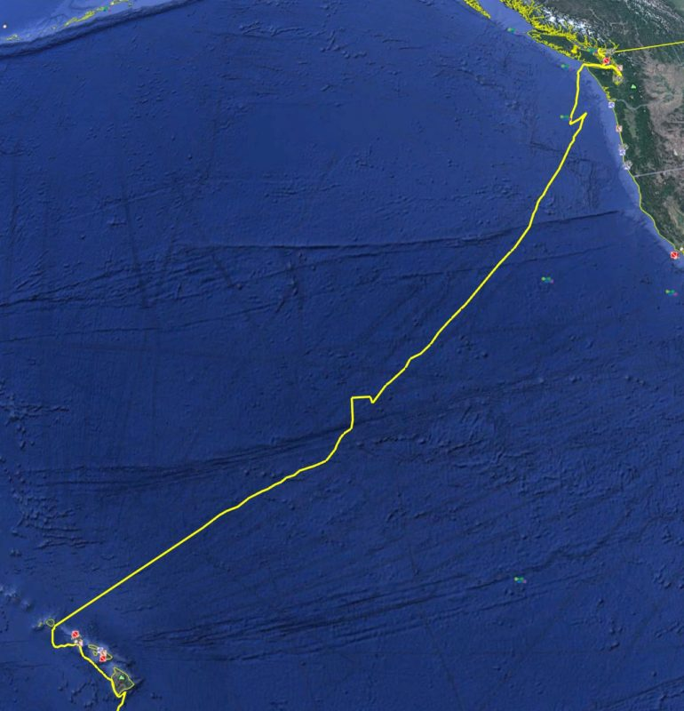 Vancouver to Hawaii - route map across the North Pacific Ocean