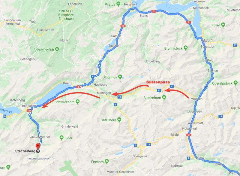Our route over the Sustenpass from Wassen to Interlaken