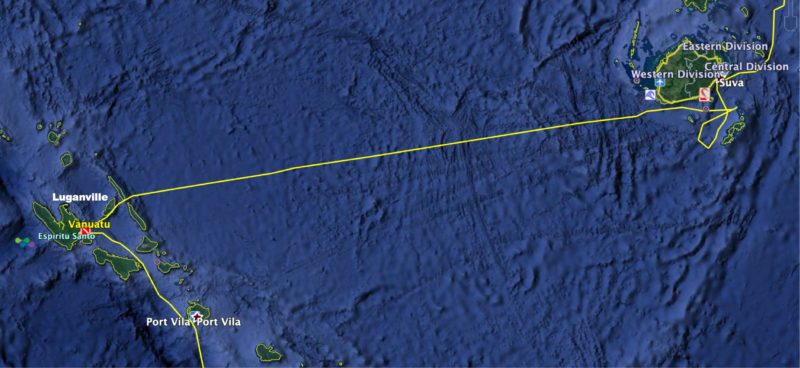 Fiji to New Caledonia route map