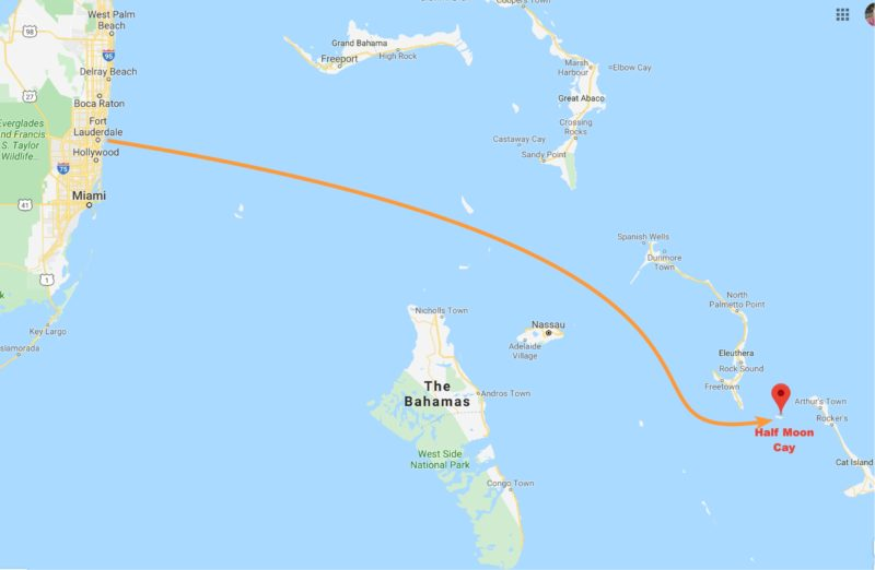 Ft. Lauderdale to Half Moon Cay, Bahamas - route map