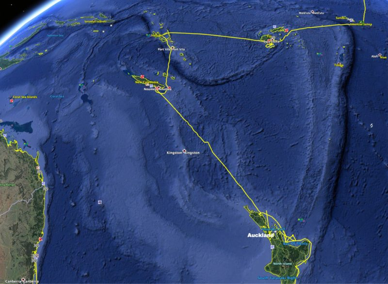 New Caledonia to New Zealand route map