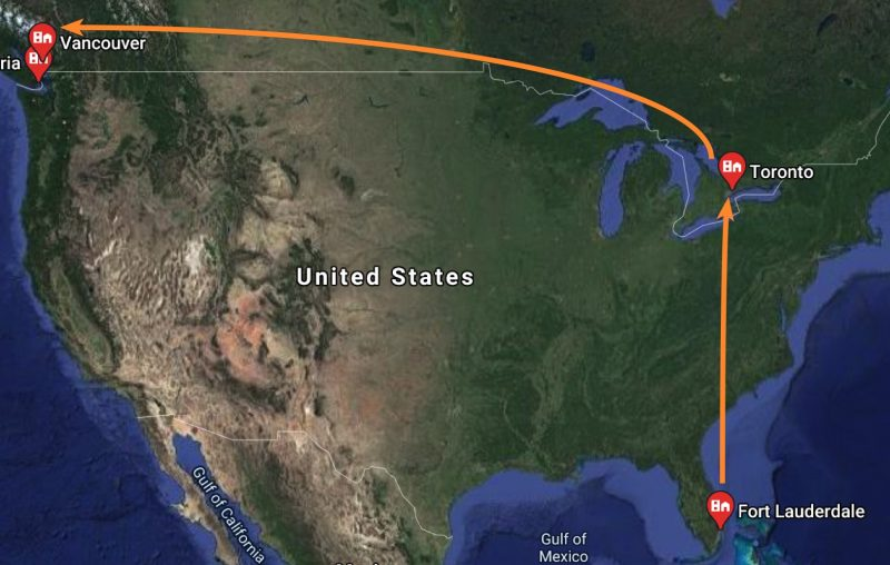 Flight path from FLL - Toronto - YVR - YYJ