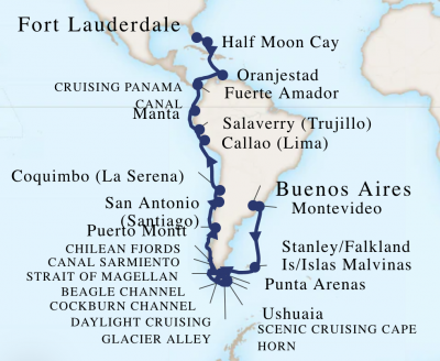 Original route map for the South America cruise