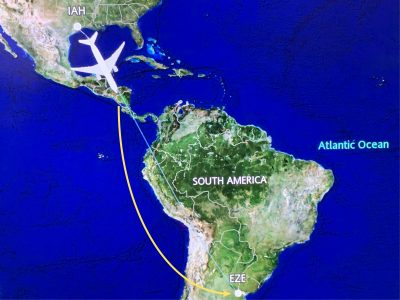 United flight path from Houston to Buenos Aires