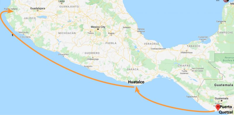 Cruising from Guatamala to Mexico - map