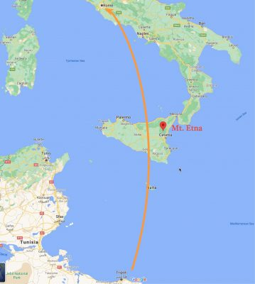 Flight map - Tripoli to Rome