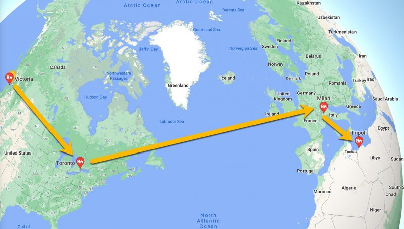 Route map - Victoria to Toronto to Milan to Tripoli