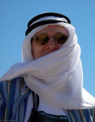 Joseph of Arabia - Joe wearing his ghutra in the Sahara on eclipse day